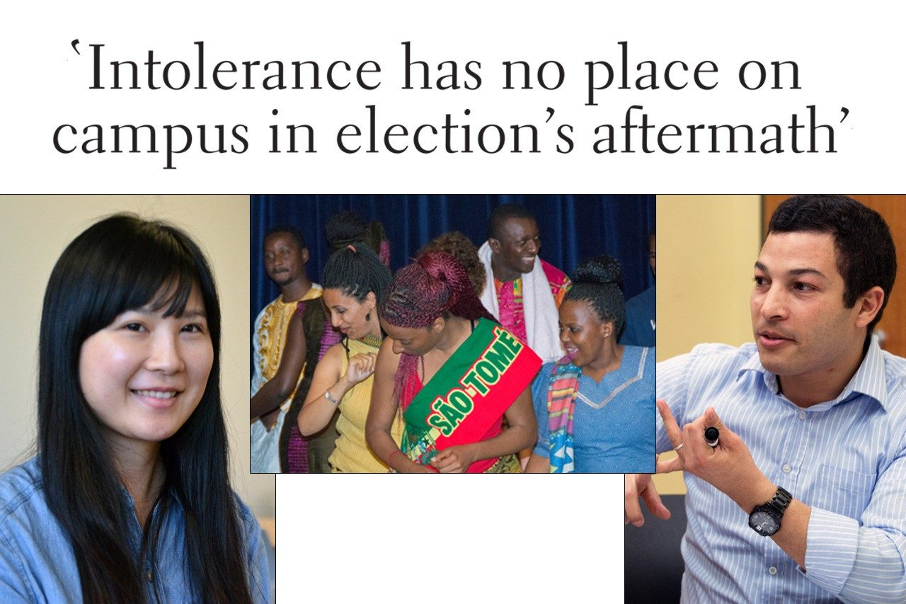 Headline: Intolerance has no place on campus in election's aftermath