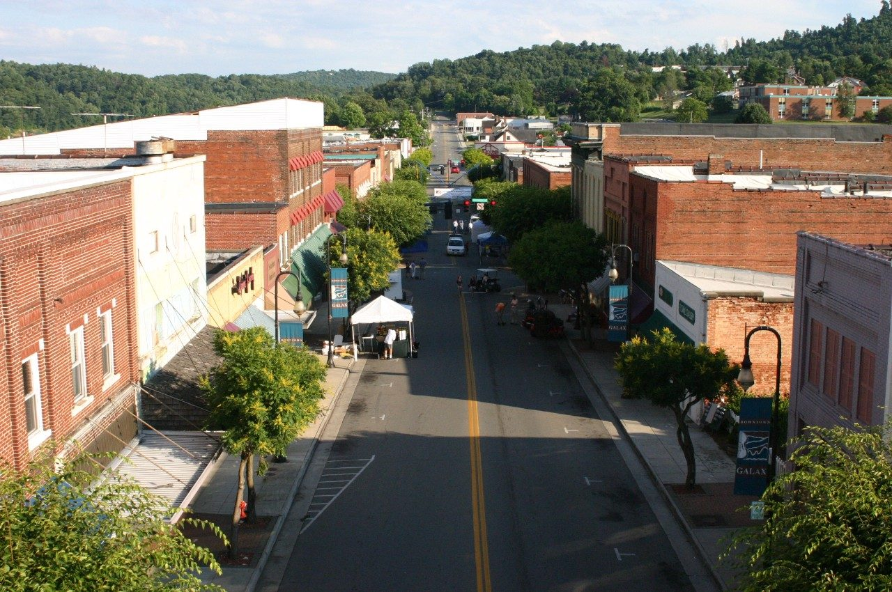 Aerial view of Main Street in Galax, Virginia